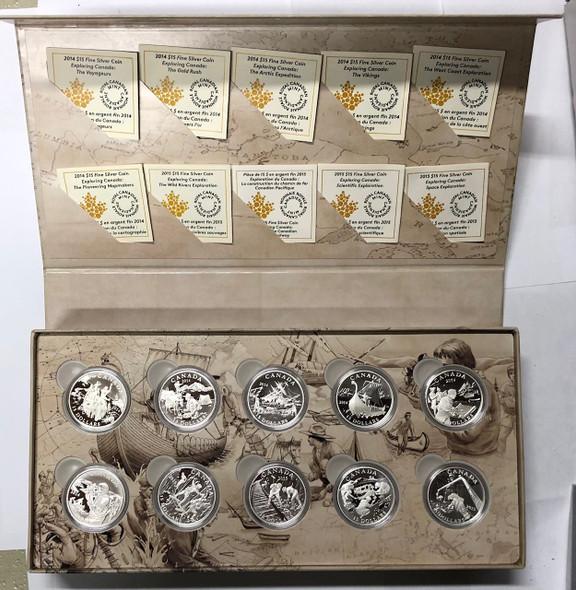 Canada: 2014 - 2015 $15 Exploring Canada - 10 Silver Coin Set