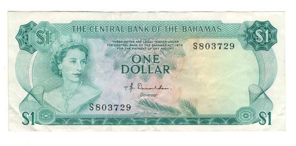 Bahamas: 1974 $1 Banknote