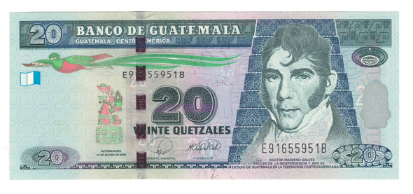 Guatemala: 2008 20 Quetzales Banknote P. 118