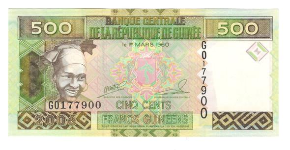 Guinea: 2006 500 Francs Banknote P. 39