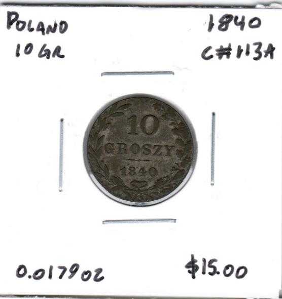 Poland: 1840 Silver 10 Groszy