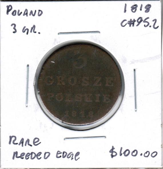 Poland: 1818 3 Grosze Rare Reeded Edge Variety