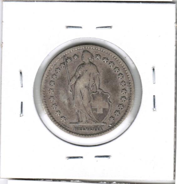 Switzerland: 1874 B Silver 2 Francs