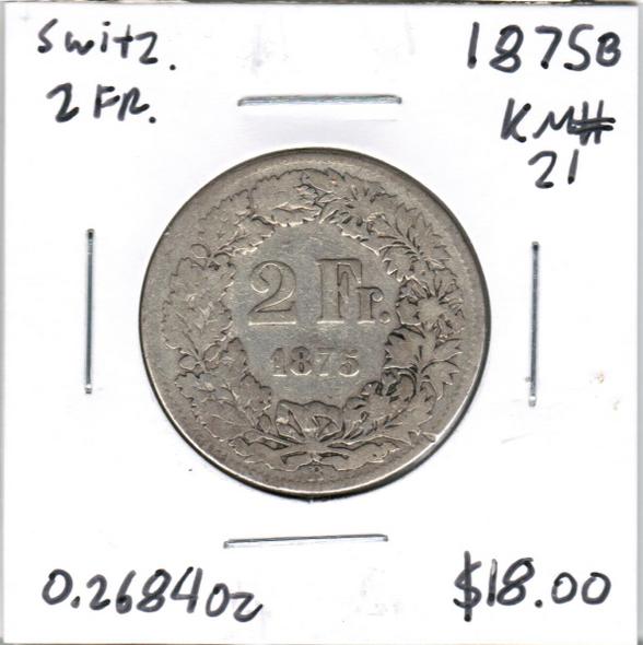 Switzerland: 1875 B Silver 2 Francs