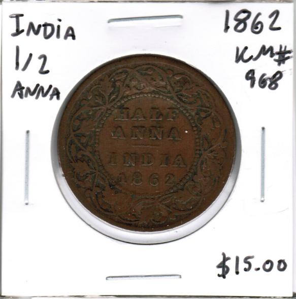 India: 1862 1/2 Anna