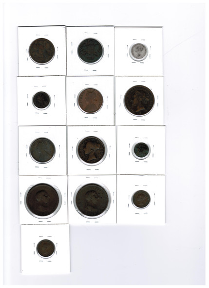 Great Britain And British Colonial 1800's World Coin Lot (13 Pieces)