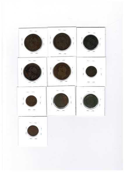 Italy And Austria 1800's World Coin Lot (10 Pieces)