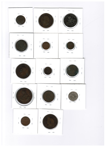 Germany, Canada, France, Netherlands etc. 1800's World Coin Lot (14 Pieces)
