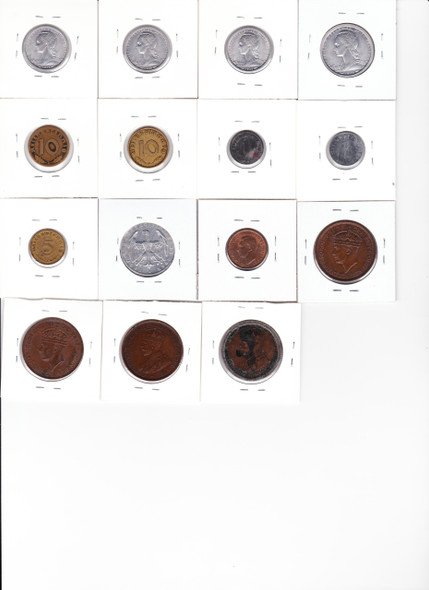 Germany, French Colonial, Jersey etc. 1911-1952 World Coin Lot (15 Pieces)