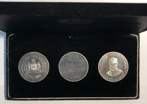 Canada: 1874 - 1974 Alexander Graham Bell Centennial 3 Pure Silver Medal Set