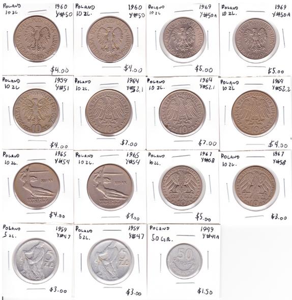 Poland: 1949-1969 World Coin Lot (15 Pieces)