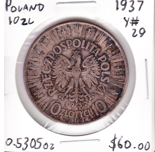 Poland: 1937 Silver 10 Zlotych