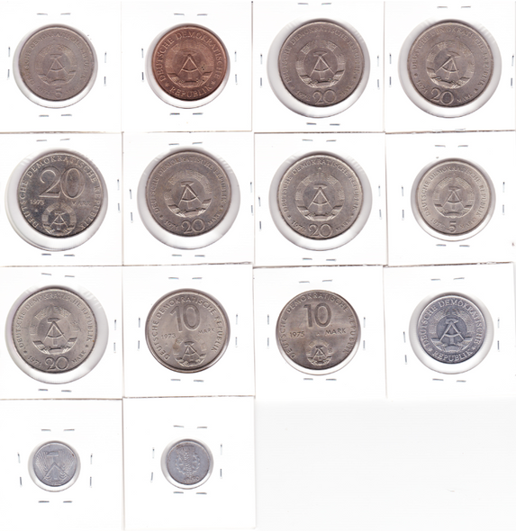 East Germany: 1950-1975 Coin Lot (14 pieces)