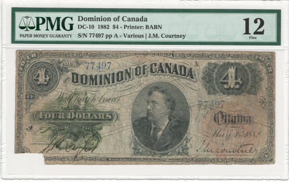 Canada: 1882 $4 Banknote - Dominion of Canada DC10 PMG F12
