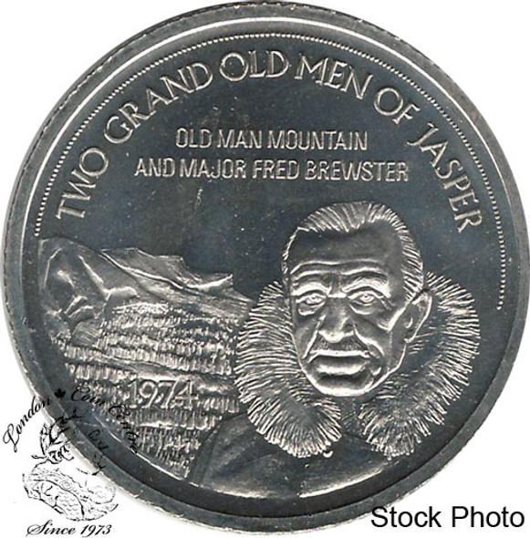 Canada: 1974 Jasper Canada Two Grand Old Men of Jasper Souvenir Trade Dollar