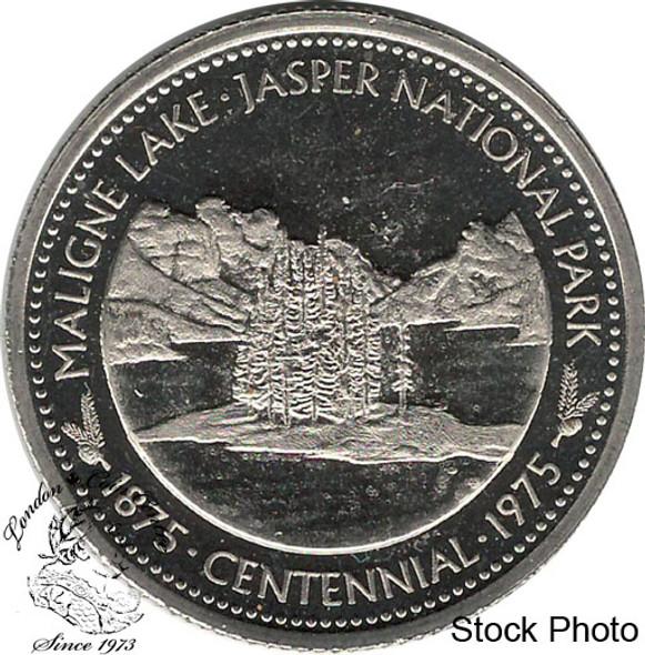 Canada: 1975 Jasper Canada Maligne Lake Jasper National Park Souvenir Trade Dollar
