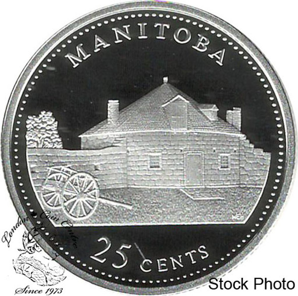 Canada: 1992 25 Cent Manitoba Proof Sterling Silver Coin in 2x2
