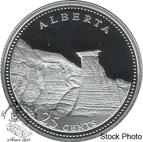 Canada: 1992 25 Cent Alberta Proof Sterling Silver Coin in 2x2