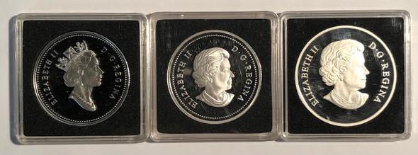 Canada: 2001 - 2009 RCM Silver Coin Lot (3 Pieces) Flag Locomotive Dollar