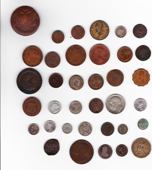 Large World Coin Lot (36 Pieces)Includes Silver Straits Settlements, Germany, Russia Etc.