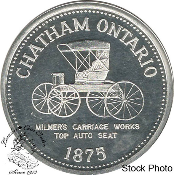 Canada: 1975 Chatham Ontario 1875 Milmers Carriage Works Top Auto Seat Pure Silver Trade Dollar