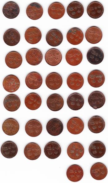 India Travancore: 1885-1924 Bulk Lot Cash Coins (37 Pieces)