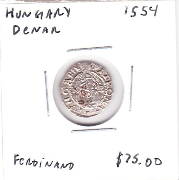 Hungary: 1554 Silver Denar