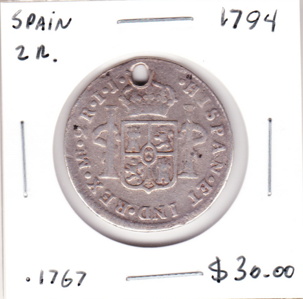 Spain: 1794 Silver 2 Reales Holed