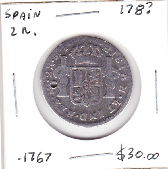 Spain: 1700s Silver 2 Reales Holed