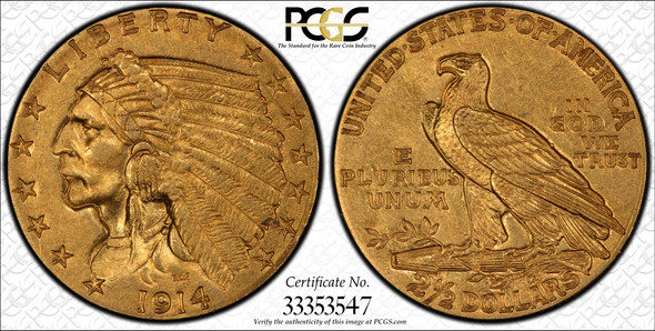 United States: 1914 Gold $2.50 PCGS MS62
