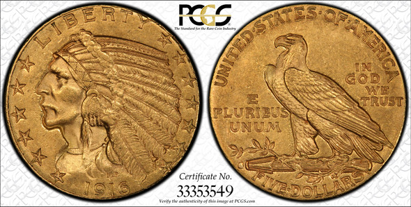 United States: 1916S Gold $5 PCGS MS62