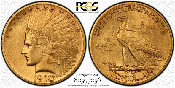 United States: 1910 Gold $10 PCGS MS63