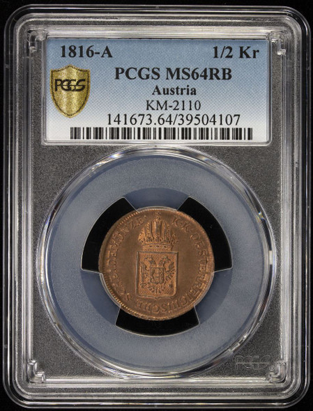 Austria: 1816-A 1/2 Kreuzer PCGS MS64 RB Top Pop!