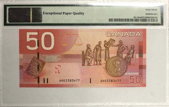 Canada: 2004 $50 Bank of Canada Banknote BC-65a PMG Superb Gem Uncirculated 67 EPQ