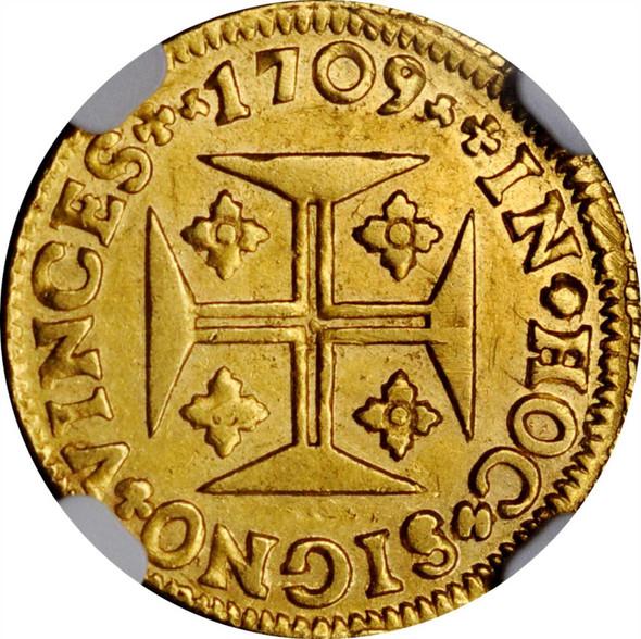 Portugal: 1709 Gold 1000 Reis Joao V NGC AU50