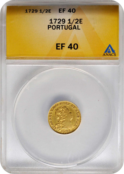 Portugal: 1729 Gold 1/2 Escudo Joao V ANACS EF40