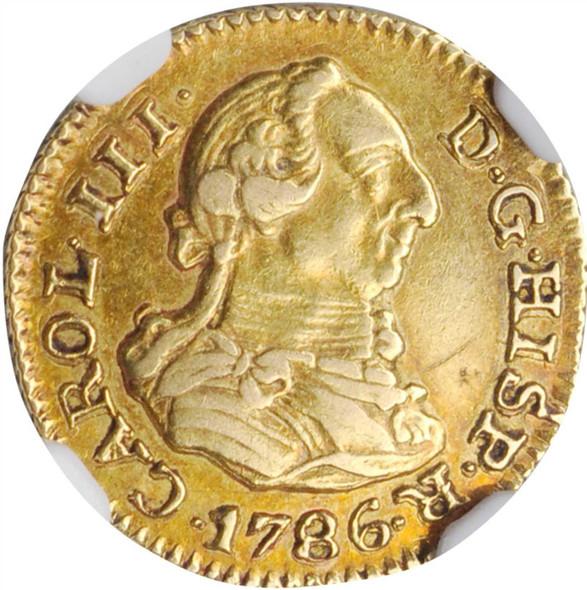 Spain: 1786M Gold 1/2 Escudo NGC AU53