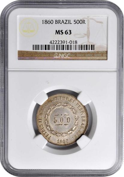 Brazil: 1860 Silver 500 Reis NGC MS63
