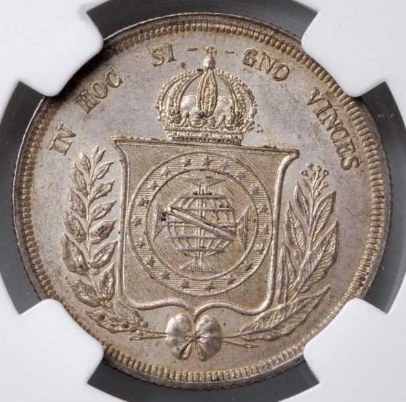 Brazil: 1861 Silver 500 Reis NGC MS64