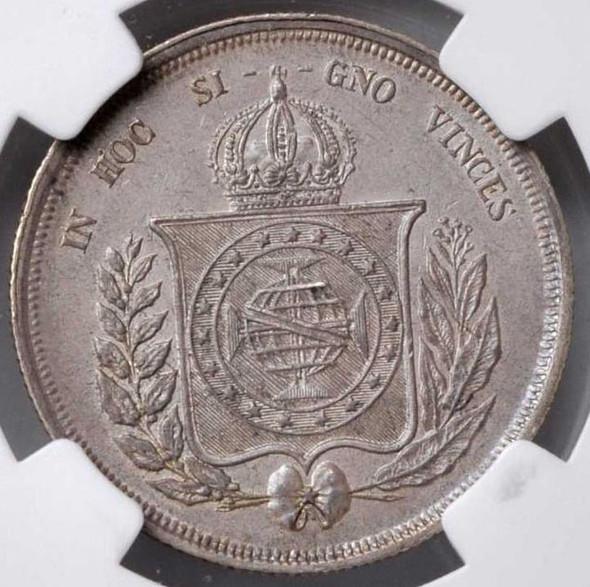 Brazil: 1862 Silver 500 Reis NGC MS62