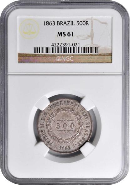 Brazil: 1863 Silver 500 Reis NGC MS61