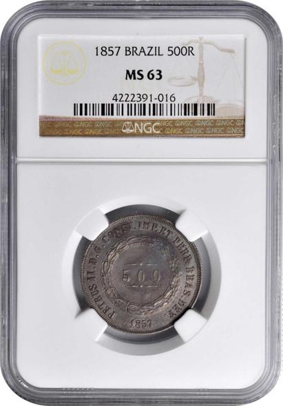 Brazil: 1857 Silver 500 Reis NGC MS63