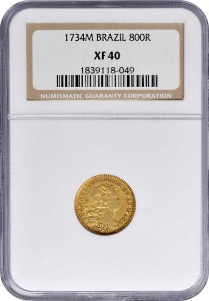 Brazil: 1734/2M Gold 800 Reis Minas Gerais Mint NGC XF40 Joao V Very Rare