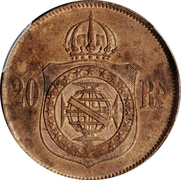 Brazil: 1869 20 Reis PCGS MS63 RB