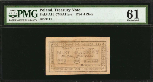 Poland: 1794 Treasury Note 4 Zlote, P-A11. PMG Uncirculated 61