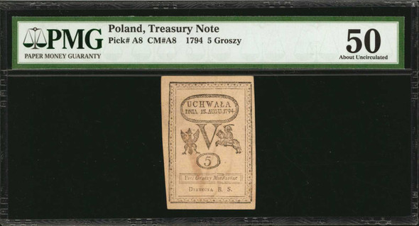 Poland: 1794 Treasury Note 5 Groszy, P-A8. PMG About Uncirculated 50