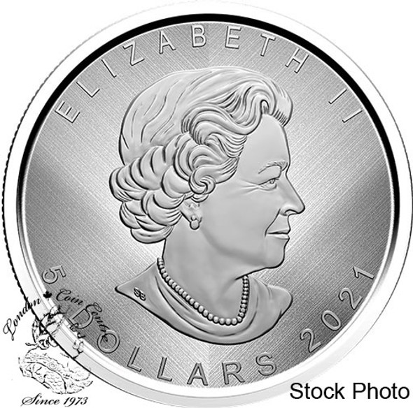 "Canada: 2021 $5 Silver Maple Leaf: ""W"" Mint Mark 1 oz Pure Silver Coin"