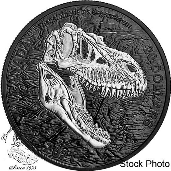 Canada: 2021 $20 Discovering Dinosaurs: Reaper of Death 1 oz Pure Silver Coin