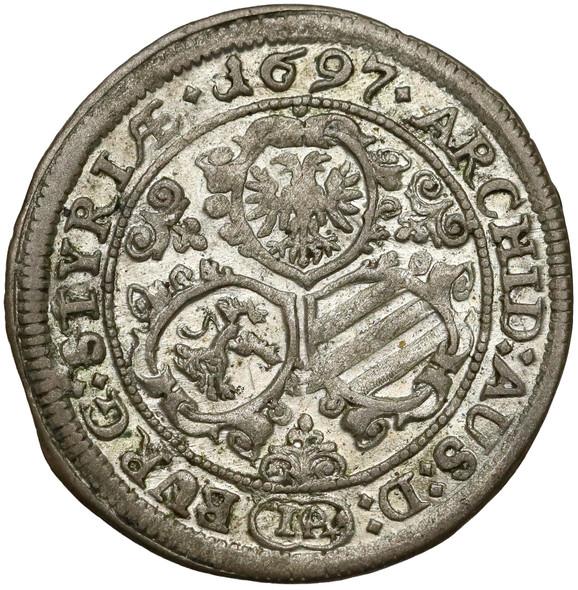 Austria: 1697 Silver 3 Kreuzer Graz Mint Leopold
