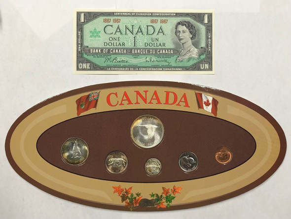Canada: 1967 Commemorative Silver Coin Set + Banknote in Oval Brown Display Case